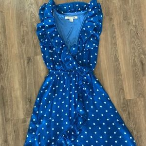 Vintage-Inspired Faux Wrap Dress with Polka Dots